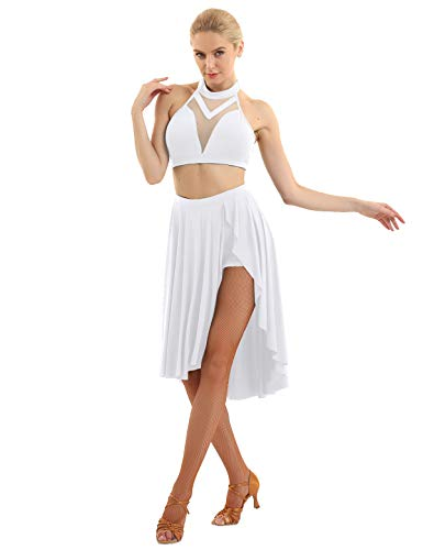 iiniim Women Girls Lyrical Dance Costume Dress Halter Neck 2 Piece Modern Dance High Low Skirt White X-Large]()