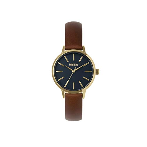 BREDA Women's 'Joule-Petite' 1734b Gold Round Fashion Analog Display Quartz with Brown Leather Strap Wrist Watch, 30mm