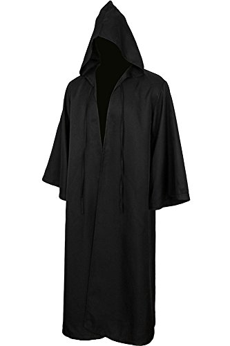BeautifulTimes Halloween Jedi Robe Costume Tunic Hooded Cloak Cape Adult Size (Brown,Small)