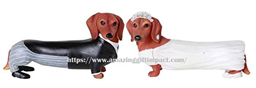 Pacific Giftware Adorable Wedding Couple Bride and Groom Doxie Dachshund Figurine Cake Topper (Set of 2)