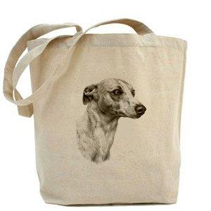 Mike Sibley in tela, motivo: cane di razza Whippet-Borsa Shopper in cotone