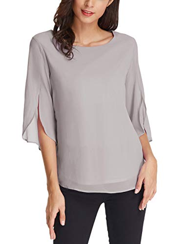 GRACE KARIN Women's 3/4 Petal Sleeve Chiffon Blouse Size 2XL Light Grey