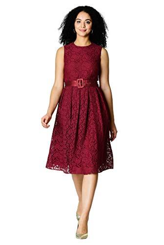eShakti FX Floral lace Dupioni Belt Dress Red