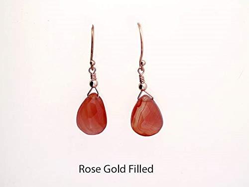 14K Gold Fill Faceted Carnelian Pear Shaped Briolette Cut Drop Earrings (Earrings 14k Carnelian)