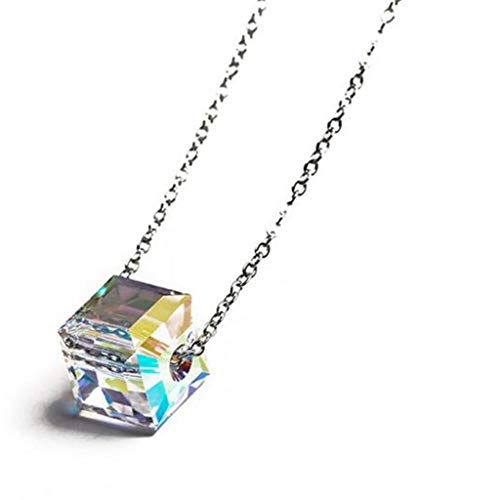 (925 Sterling Silver Square Cube Crystal Necklace Pendant)