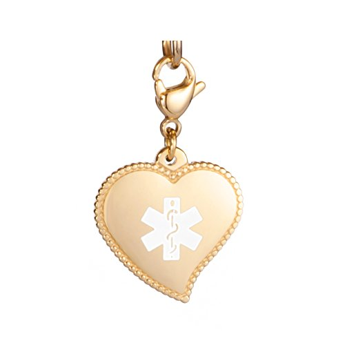 BLOOD THINNER Stainless Steel Medical Alert Heart  Charm w// Lobster Clasp
