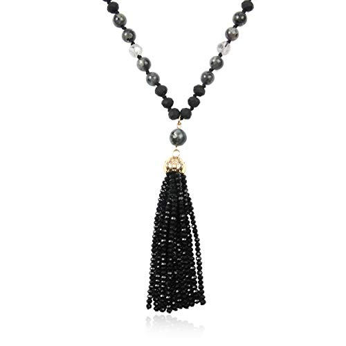Beaded Black Charms (RIAH FASHION Bohemian Pendant Beaded Long Statement Necklace - Sparkly Crystal Bead Boho Teardrop, Natural Stone, Tassel Charm Wrap Lariat (Beaded Tassel - Black))