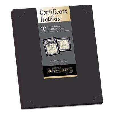 Southworth Certificate Holder, Black, 105lb Linen Stock, 12 x 9 1/2, 10/Pack - PF18, 2 packs ()