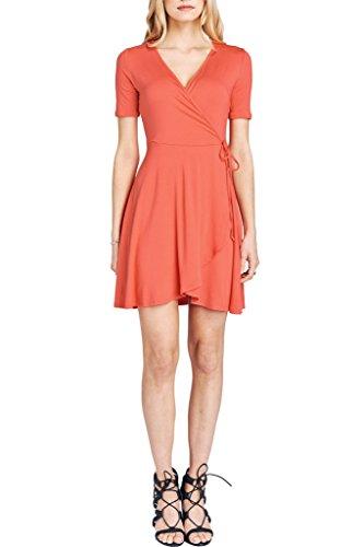 Poshsquare Women's V Neck Short Sleeve Fit and Flare Classic Wrap Dress USA Orange (Mock Wrap Knit Dress)