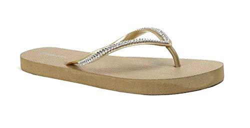 New Women's Rhinestone Sandals Diamond Head Flip Flop Beach, Gym, Pool | 313L (11 B(M), Gold) (Flip Flops For A Wedding)