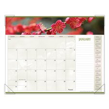 - Visual Organizer Products - Visual Organizer - Panoramic Floral Monthly Desk Pad Calendar, 22 x 17 - Sold As 1 Each - Beautiful image each month. - Background design and color scheme coordinate with each image. - Features unruled daily blocks, lined note space and full year calendar reference blocks. - Three bonus pages with current year reference calendar, next year reference calendar, and dates to remember. - Four corner vinyl holder with chipboard backing.