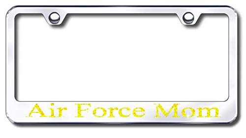 Aluminum Air Force Mom Design License Plate Frame with Swarovski Crystal Bling Diamond (Silver License Plate, Yellow Gold Crystals) -  Simply Infinite Productions