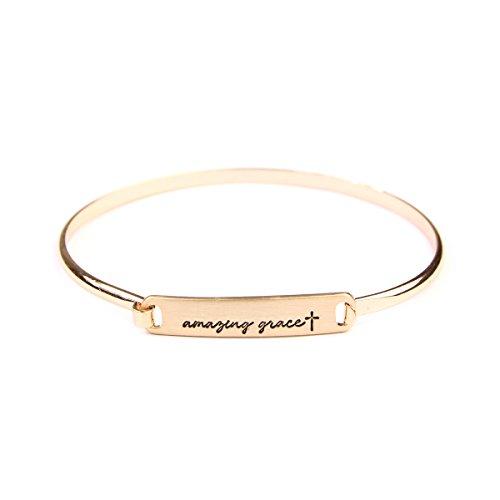 Amazing Jewelry (MYS Collection Riah Fashion Women's Blessed, Philippians 4:13, Faith, John 3:16 Delicate Message Bracelet (Amazing Grace - Gold))