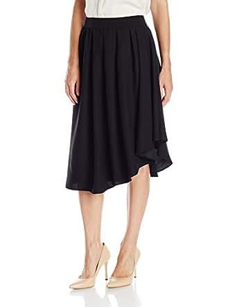 Lark & Ro Women's Softly Draped Asymmetrical Hem Line Skirt, Black, XS