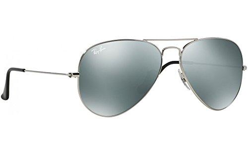 6fbfc43f262 Ray-Ban Aviator Unisex Sunglasses Silver Frame Silver Mirror Lenses. 58mm  (standard size