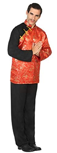 Mens Red Oriental Chinese Japanese International Around The World Carnival Stag Fancy Dress Costume Outfit M-XL (X-Large)]()