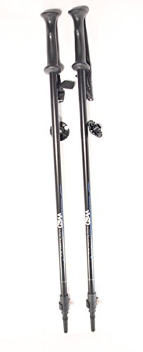 WSD Ski Poles Telescopic Adjustable Collapsible Adult Alpine Downhill Pair with Baskets Black/Silver/Blue 7075 Aluminum Adjustment from 115cm to 135 cm.