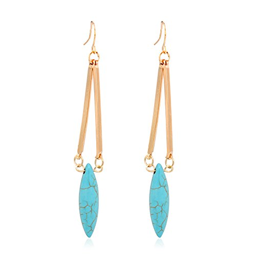 Hanloud Turquoise Dangle Earrings Long Bar Drop Dangle Earrings for Women