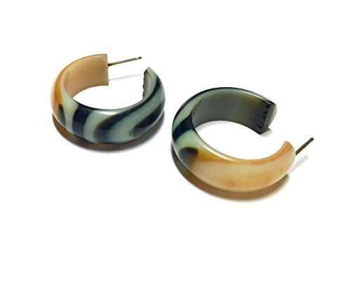 Frosted Tiger Lily Hoops | vintage lucite gold and brown stripe Small Simple hoop earrings ()