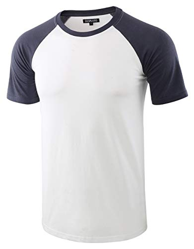 DESPLATO Mens Casual Basic Vintage Active Short Raglan Sleeve Crew Neck T Shirt White/C.Blue L