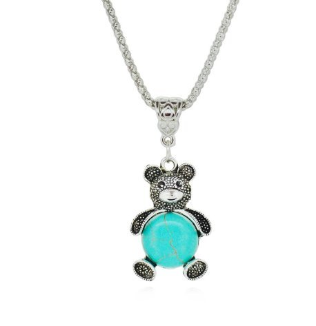 USA Vintage Bear Silver Antique Turquoise Necklace Jewelry Women Long Chain (Vintage Burberry Scarf)