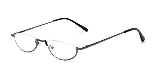 (Readers.com Fully Magnified Reading Glasses: The Lynwood, Half Frame Semi-Rimless Reader for Women and Men - Grey, 2.00)