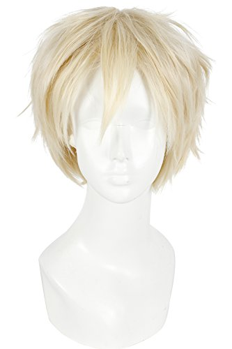 Nuoqi Mens Short Straight Hair Anime Blonde Cosplay Wig]()