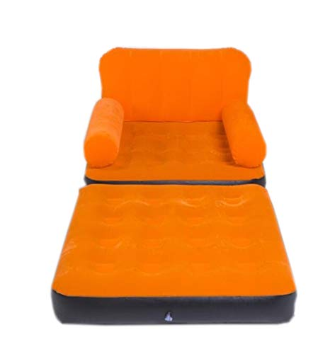(HU Suede Inflatable Sofa Single Lazy Couch Home Outdoor Camping Portable Air Bed Siesta Seat + Electric Pump 64×191×97cm)