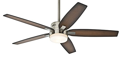Hunter 59039 Windemere 54 in. Indoor Ceiling Fan with Light and Remote - Brushed Nickel (Ceiling Fan With Remote compare prices)