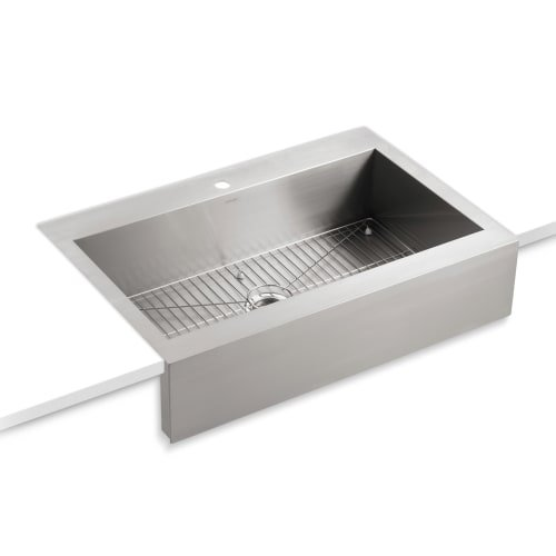 KOHLER K-3942-1-NA Vault Top-Mount Single-Bowl Kitchen Sink with Shortened Apron-Front for 36-Inch Cabinet and Single Faucet Hole, Stainless Steel