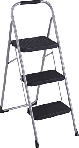 Cosco 11408PBL1E Three Big Folding Step Stool with Rubber Hand Grip, Platinum