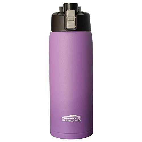 Aquatix (Purple, 21 Ounce) Pure Stainless Steel Double Wall Vacuum Insulated Sports Water Bottle with Convenient Flip Top - Keeps Drinks Cold for 24 Hours, Hot for 6 Hours (Best Thermos To Keep Drinks Hot)