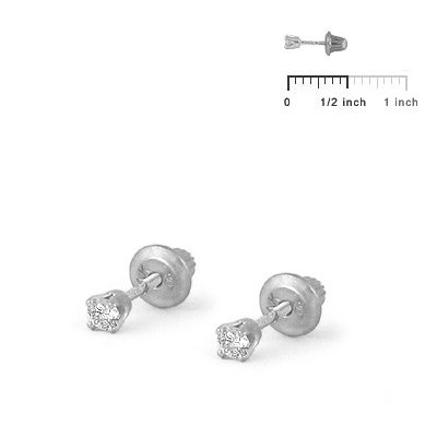Girls Jewelry - 14K White Gold 0.1CTW Diamond Screw Back Earrings by Loveivy (Image #2)
