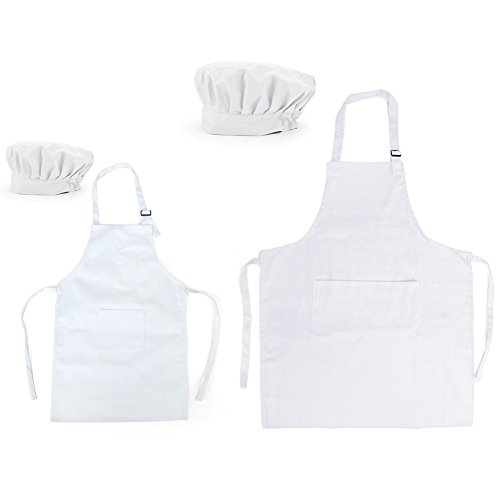 Opromo Colorful Cotton Canvas Kids Aprons and Hat Set, Party Favors(S-XXL)-WHITE Parent Child Set-L by Opromo
