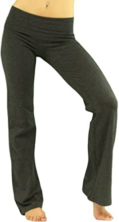 ToBeInStyle Women's Low Rise Sweatpants w/ Fold-Over Waistband - Small - Dark Gray