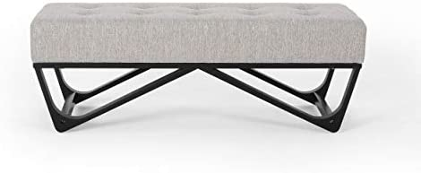 Great Deal Furniture Emily Contemporary Fabric Ottoman Bench