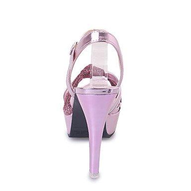 Cuero Boda LvYuan Trabajo Vestido Oficina Mujer Rosa Informal Tacón del Plata Talón y Stiletto Pink Zapatos Exterior Sandalias club Descubierto Oro w4Anwqaz