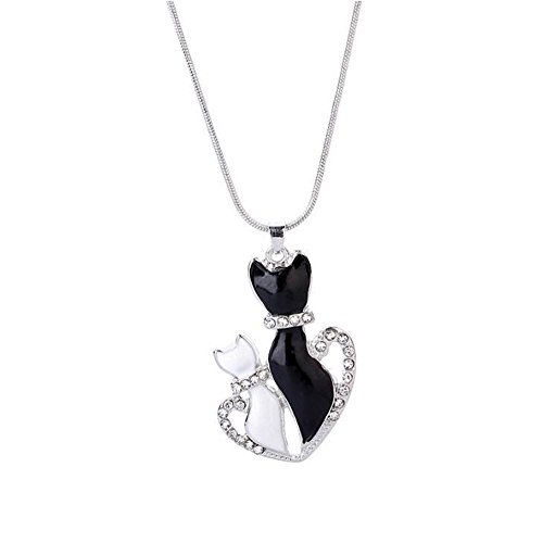 SSYUNO Elegant Retro Black And White Lovely Cat Diamond Pendant Necklace Animal Charm Silver for Women Girls