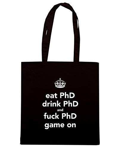 Borsa Shopper Nera TKC3709 EAT PHD DRINK PHD AND FUCK PHD GAME ON