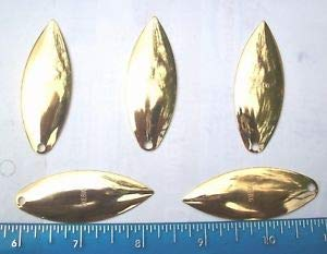 JumpingBolt 5ct Gold #5 WILLOWLEAF Spinner Blades,24 Carat Plated,Spinnerbait Blade for Saltwater Freshwater Bass Kayak Ice Fishing