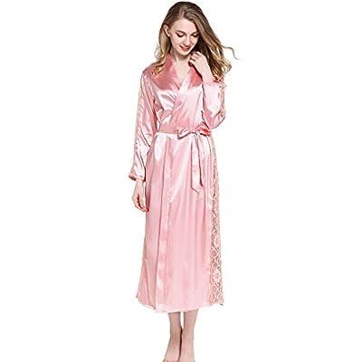 HiSexy Women's Kimono Long Robe Soft Silk Bathrobe Lace One-Piece Pajamas Sleepwear Loungewear Nightgown