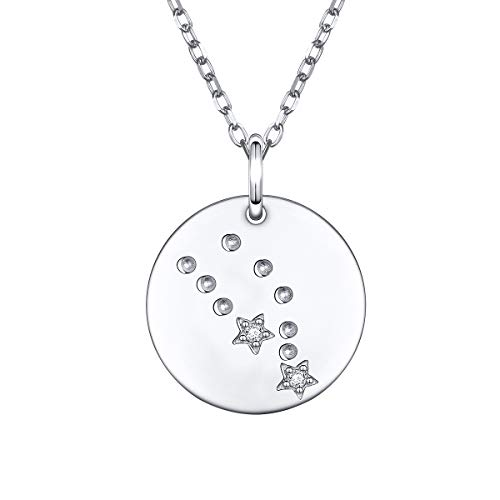 925 Sterling Silver Constellation Zodiac Coin Taurus Necklace Birthday Gift for Women Girls,16