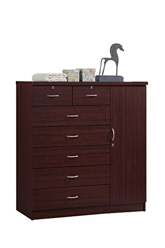 Hodedah 7 Drawer Jumbo Chest, Five Large Drawers, Two Smaller Drawers with Two Lock, Hanging Rod, and Three Shelves, Mahogany