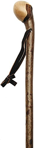 (Hazelwood, Root Knobbed Walking Cane with Polished Hazelwood Shaft and Leather Strap)
