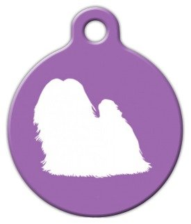- Maltese Silhouette - Custom Pet ID Tag for Dogs and Cats - Dog Tag Art - SMALL SIZE