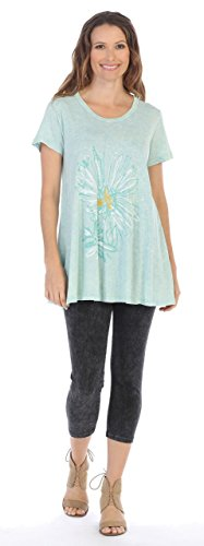 Jess & Jane Women's Printed Mineral Washed Cotton Short Sleeve Tunic Top (Medium, Mono Flower (Jane Cotton Printed Top)
