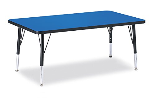 Berries 6473JCT183 Rectangle Activity Table, T-Height, 30'' x 48'', Blue/Black/Black by Berries