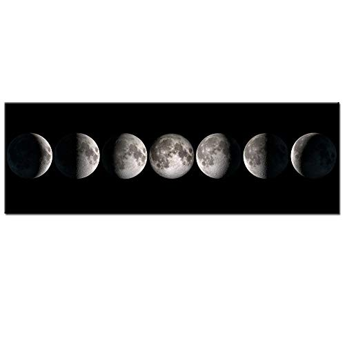 - sechars - Modern Giclee Canvas Prints Stretched Artwork Phases of Moon Black and White Pictures to Photo Paintings on Canvas Wall Art for Home Office Decorations 20