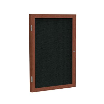 - 1 Door Enclosed Bulletin Board Surface Color: Merlot, Frame Finish: Cherry, Size: 2' H x 1'6