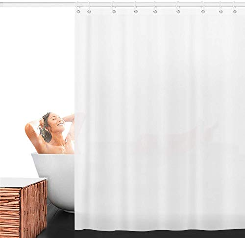 Tlink Shower Curtain, Polyester Fabric Shower Curtain Liner Hotel Quality Bathroom Shower Curtains Water Repellent (White) -  - shower-curtains, bathroom-linens, bathroom - 31T3%2BaFk3dL -